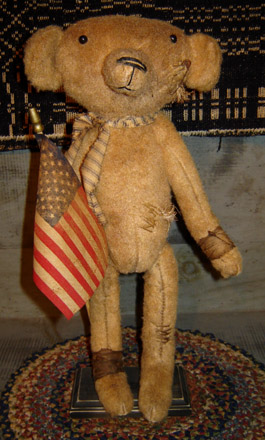 BR105 Standing Leroy Bear Holding Flag-