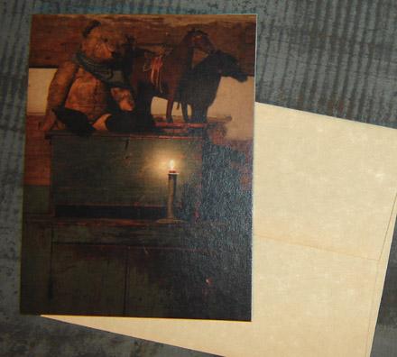 CARD106 Old Bear & Horse Card & Envelope-