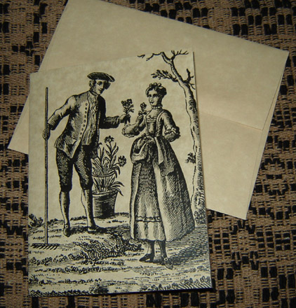 CARD107 Colonial Couple Note Card & Envelope-