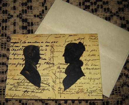 CARD108 Man & Woman Silhouette Note Card & Envelope-