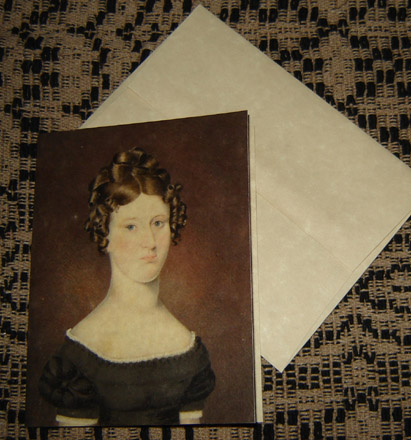 CARD109 Colonial Girl Note Card & Envelope-