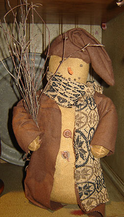 CT294 Snowman in Brown with Twigs-