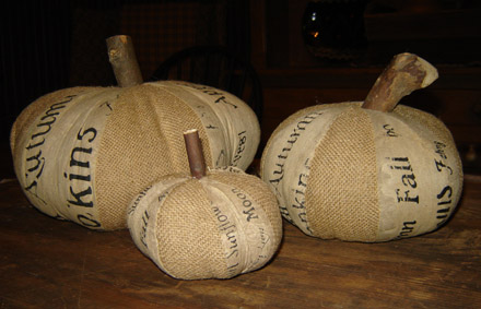 FH147 2 Piece Burlap Pumpkin Set-