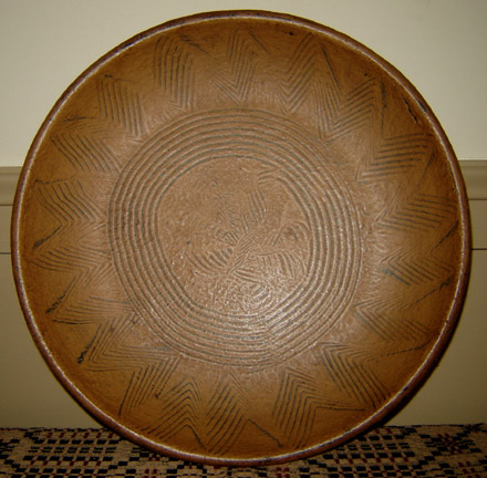 WO198 Wooden Mustard Combed Sun Design Plate-