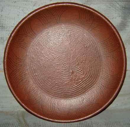WO200 Wooden Burgundy Combed Sun Design Plate-